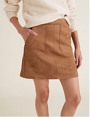 M&S Collection Suedette Mini A Lne Skirt