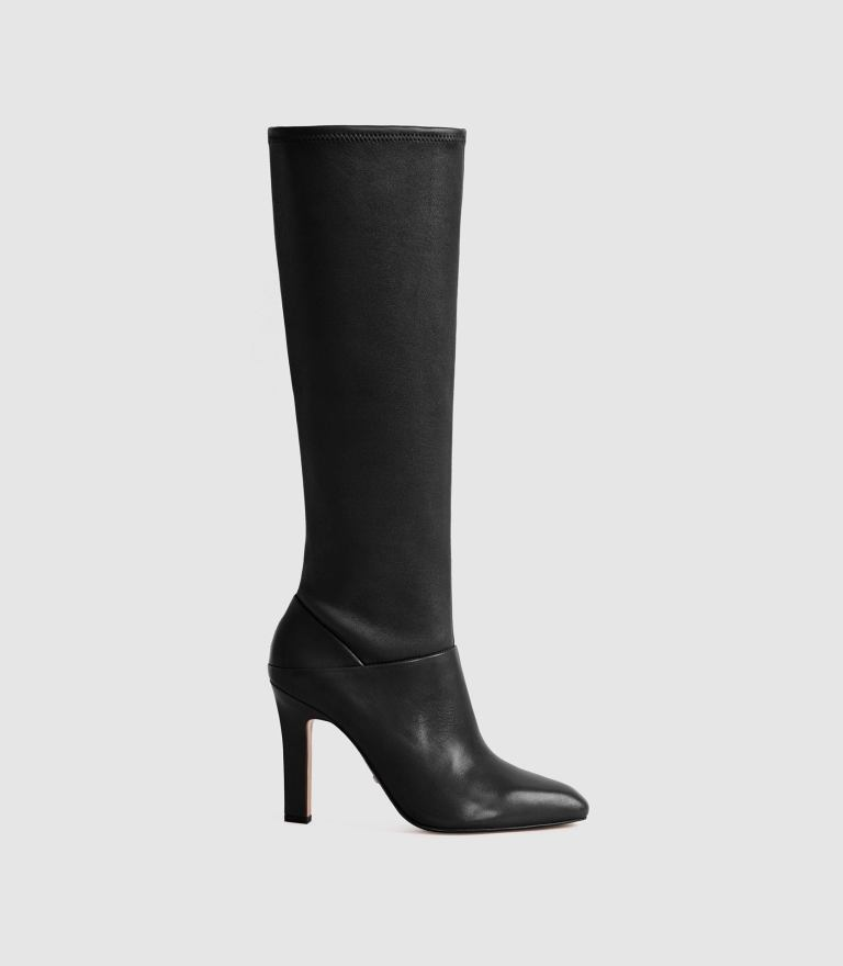 Reiss Cresida Leather Knee High Boots in Black