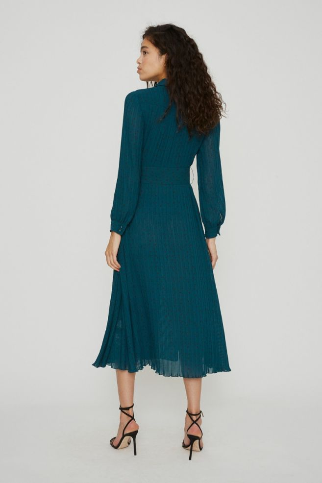 Rotate Birger Christensen Teal Polka Dot Dress back view