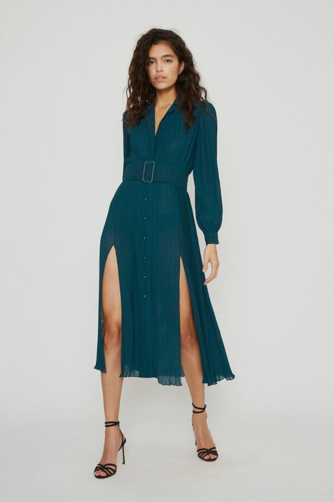 Rotate Birger Christensen Teal Polka Dot Dress