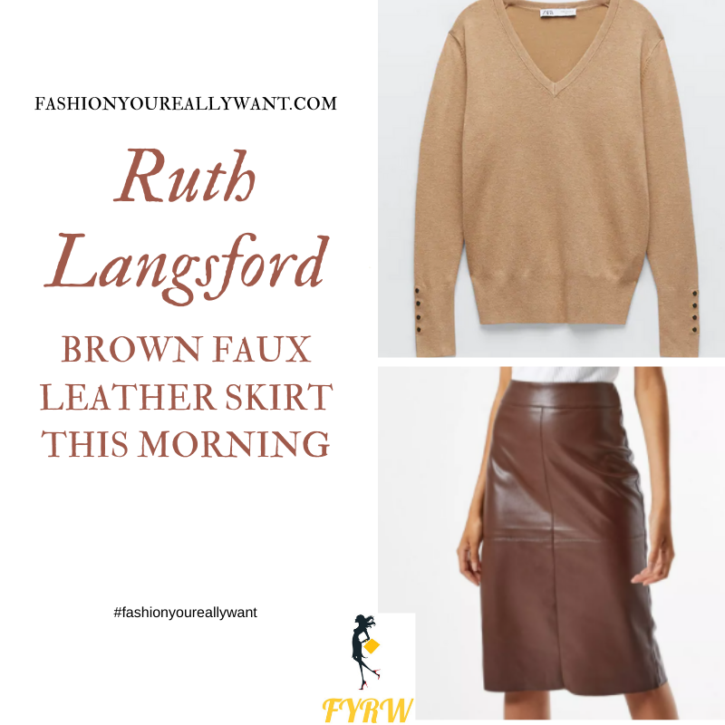Where to get all Ruth Langsford This Morning outfits blog October 2020 brown v neck jumper with buttons brown faux leather skirt leopard court shoes