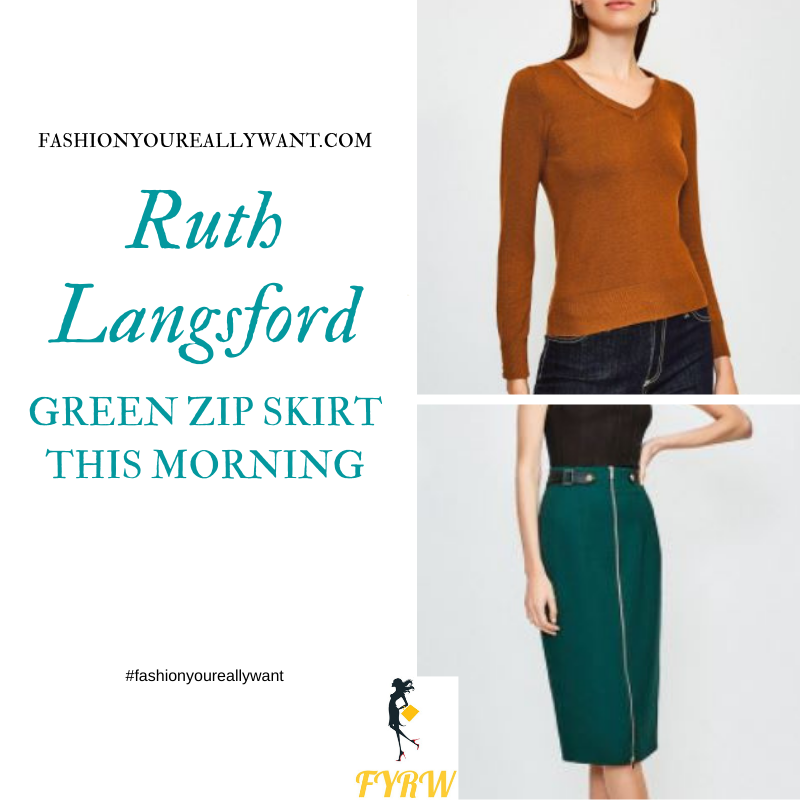 Where to get all Ruth Langsford This Morning outfits blog October 2020 tan gold v neck jumper green zip pencil skirt tan shoes tan croc bag