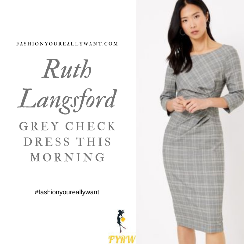 Where to get all Ruth Langsford This Morning outfits blog October 2020 grey and white checked bodycon dress