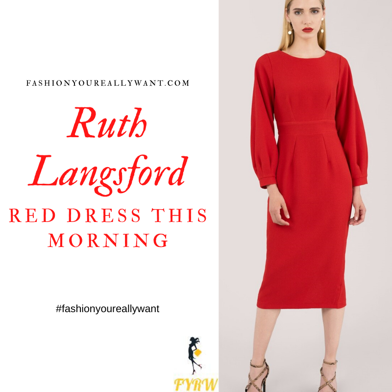 Where to get all Ruth Langsford This Morning outfits blog October 2020 red long sleeve fitted dress tie back
