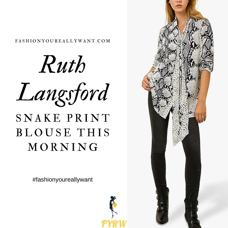 Where to get all Ruth Langsford This Morning outfits blog October 2020 black and white snake print tie neck blouse