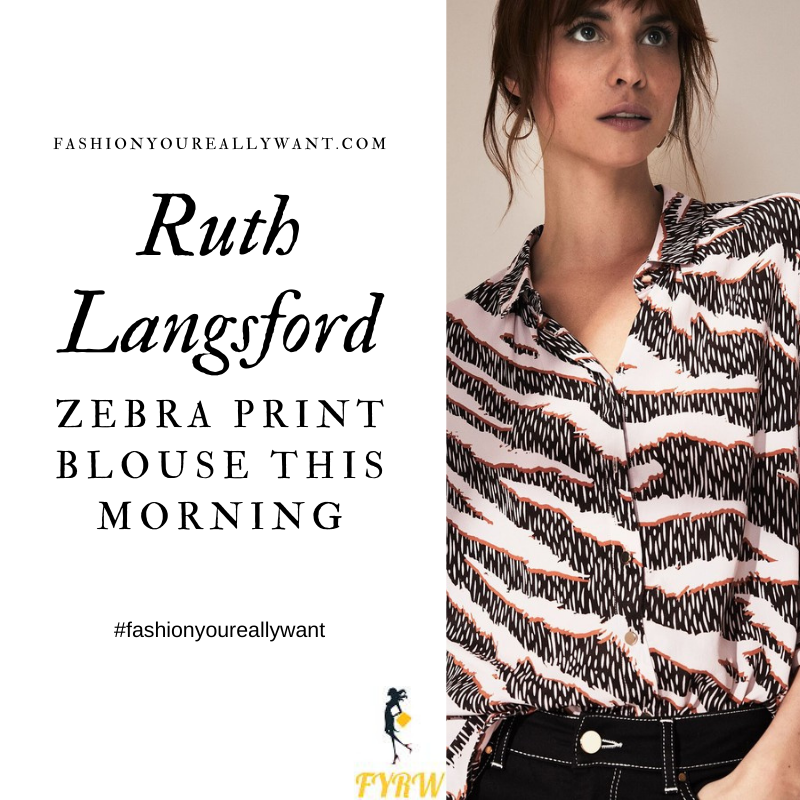 Where to get all Ruth Langsford This Morning outfits blog October 2020 white black pink zebra print blouse
