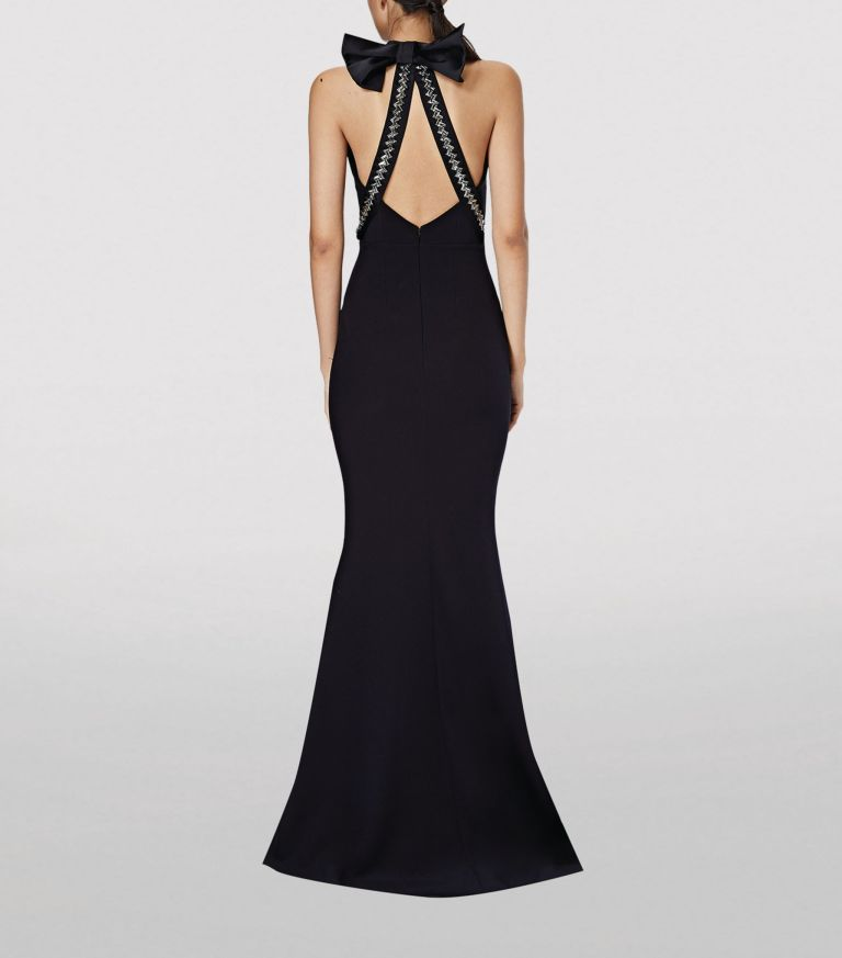 Safiyaa Halterneck Bow-Detail Gown back view