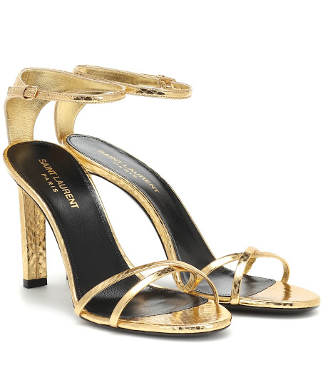 Saint Laurent Gia Metallic Leather Sandals