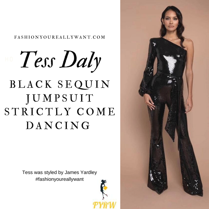 Tess Daly Strictly Come Dancing Week 1 October 2020 where to get her outfits black one sleeve sequin jumpsuit