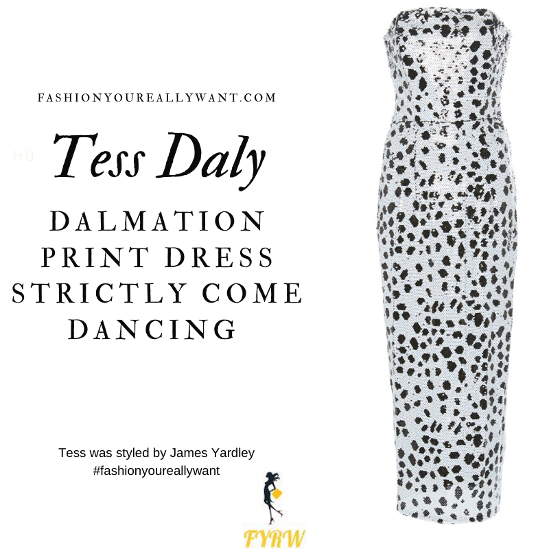 Tess Daly Wore This on the Strictly Come Dancing Launch September 2020 where to get her outfits white and black strapless sequin dress Dalmation print gold strappy sandals