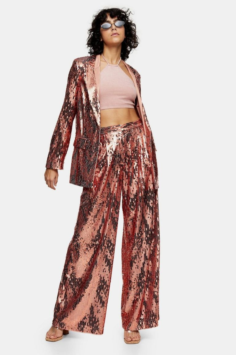 TopshopIDOL Copper Sequin Wide Leg Trousers