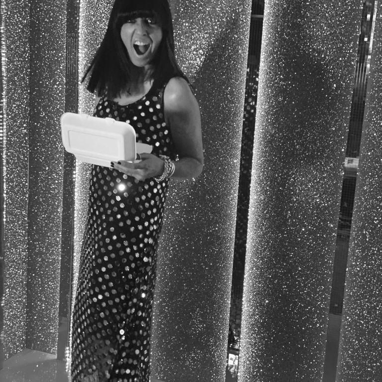 where to get all Claudia Winkleman Strictly dresses black mirrorwork georgette dress 31 October 2020 Photo Claudia Winkleman
