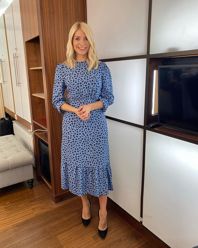 where to get all Holly Willoughby This Morning dresses blue long sleeve dirst midi dress black suede court shoes 12 October 2020 Photo Holly Willoughby