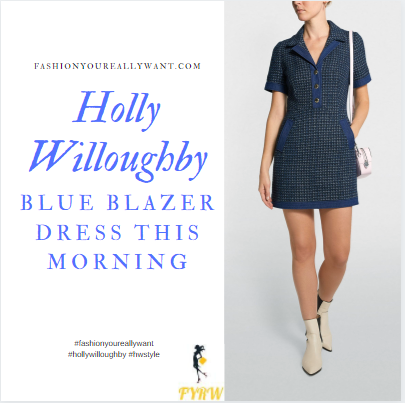 where to get all Holly Willoughby This Morning dresses blue short sleeve knit blazer dress white polo neck white ankle boots 6 October 2020