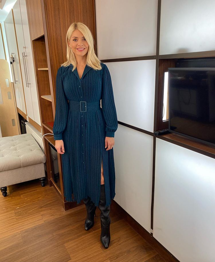 where to get all Holly Willoughby This Morning dresses teal green polka dot long sleeve dress black boots 13 October 2020 Photo Holly Willoughby