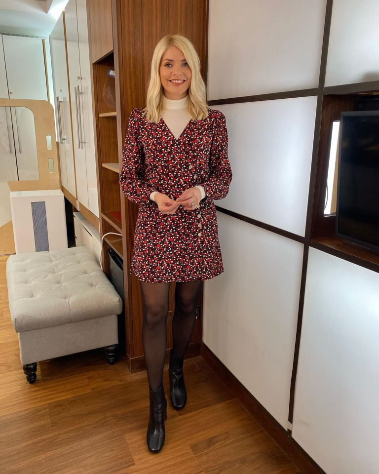 where to get all Holly Wiloughby This Morning dresses black heart print dress v neck cream polo neck black ankle boots 26 October 2020 Photo Holly Willoughby