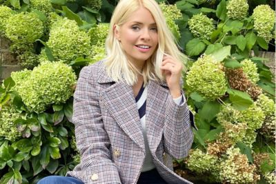 where to get Holly Willoughby check jacket black and white jumper 2 October 2020 Photo M&S