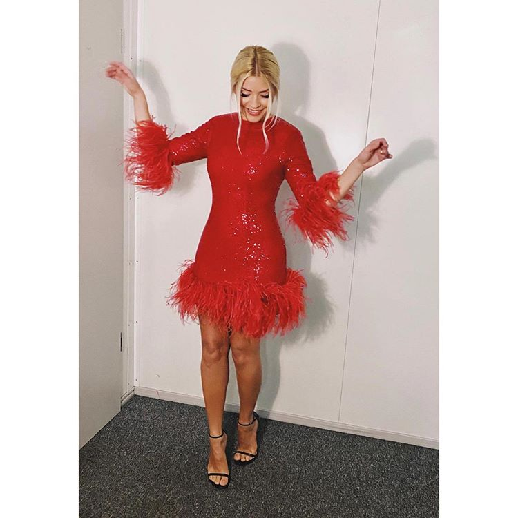 where to get Holly Willoughby red sequin and feather dress black sandals 29 October 2020 Photo Holly Willoughby