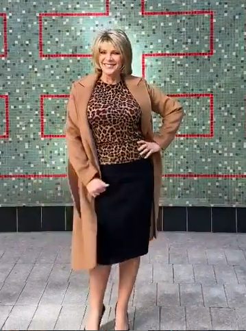 where to get Ruth Langsford This Morning outfits leopard knit black skirt camel coat black court shoes 16 October 2020 Photo Ruth Langsford