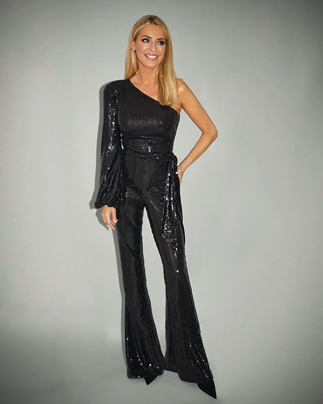 where to get Tess Daly Strictly outfits black sequin one sleeve jumpsuit 24 October 2020 Photo James Yardley