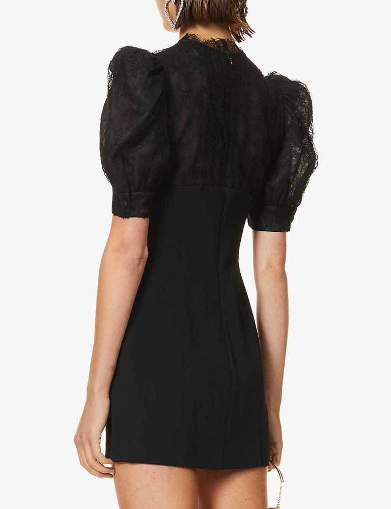 Alessandra rich Puff-sleeve floral-lace stretch-crepe mini dress back view
