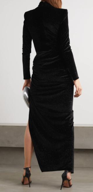 Alexandre Vauthier Ruched Crystal-embellished Stretch-velvet Turtleneck Gown back view
