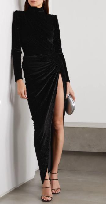 Alexandre Vauthier Ruched Crystal-embellished Stretch-velvet Turtleneck Gown v2