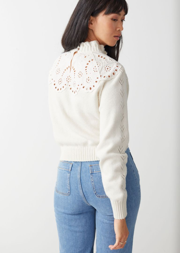 And Other Stories Wool Blend Scalloped Sweater back view