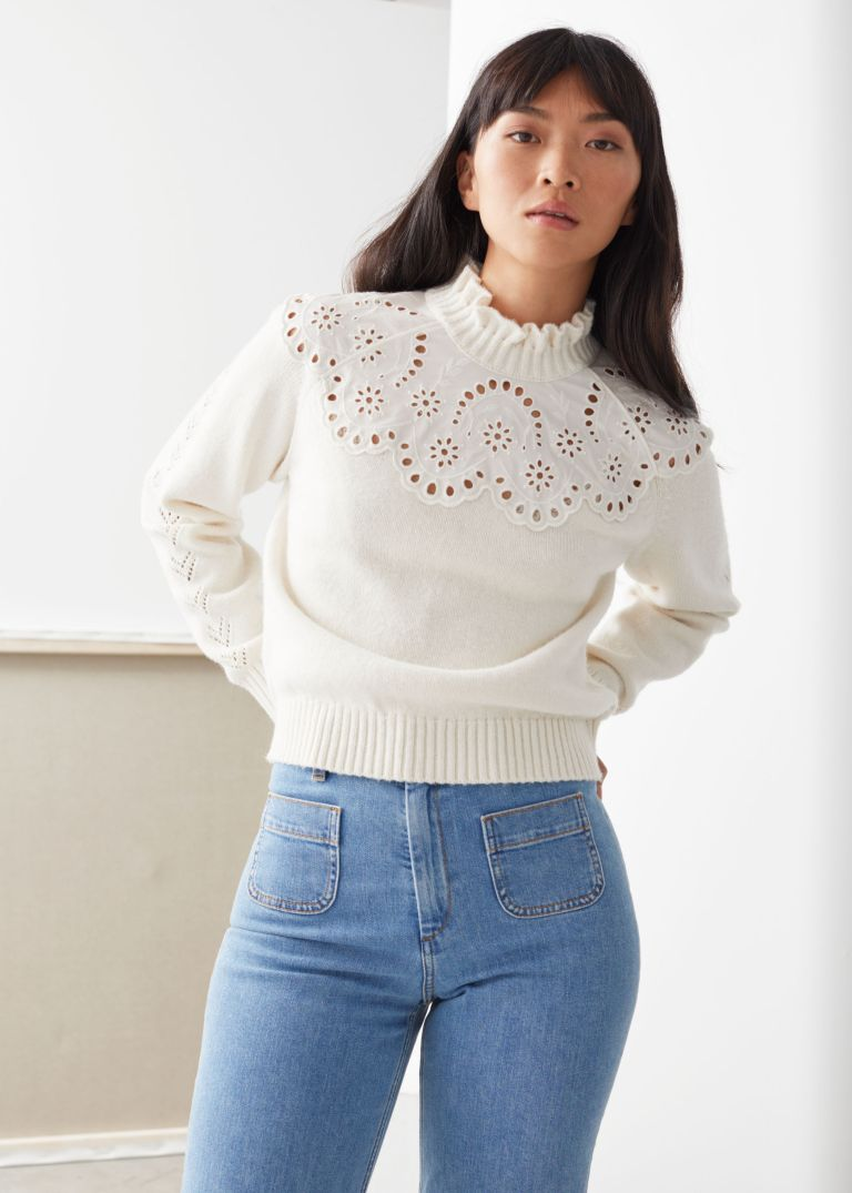 And Other Stories Wool Blend Scalloped Sweater
