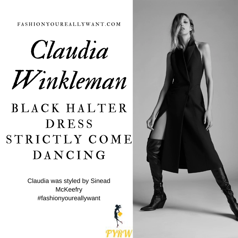 Claudia Winkleman Wore This on Strictly Come Dancing Week 4 November 2020 where to get her outfits black halter tux dress with buttons
