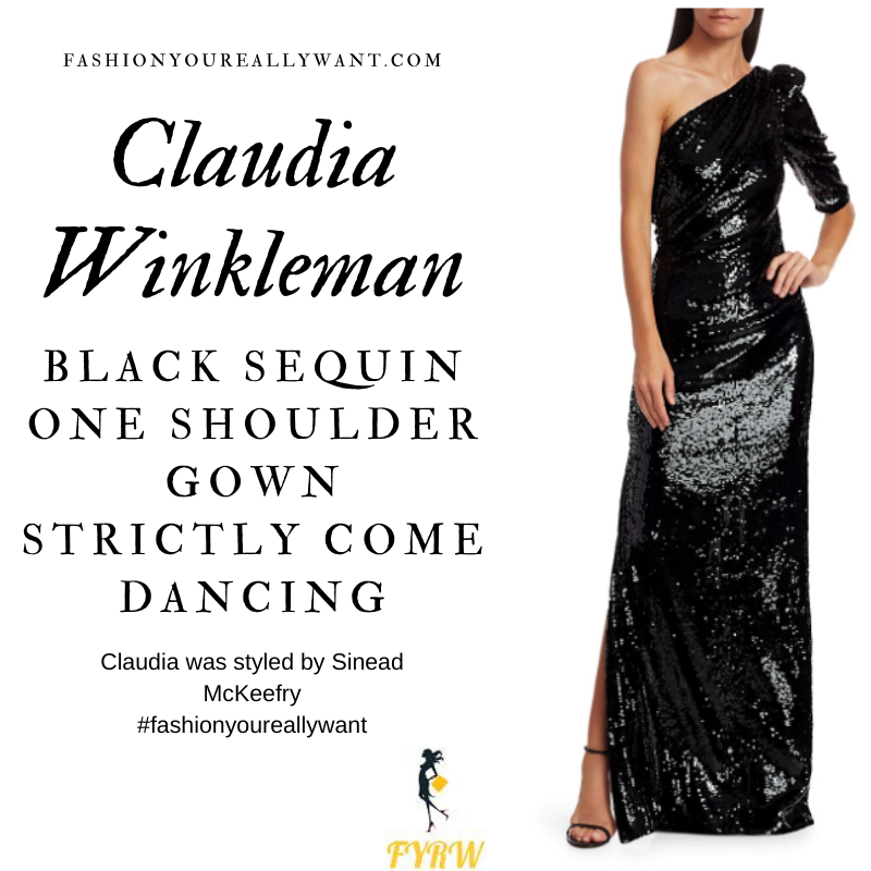 Claudia Winkleman Wore This on Strictly Come Dancing Week 3 November 2020 where to get her outfits black one shoulder sleeve sequin gown