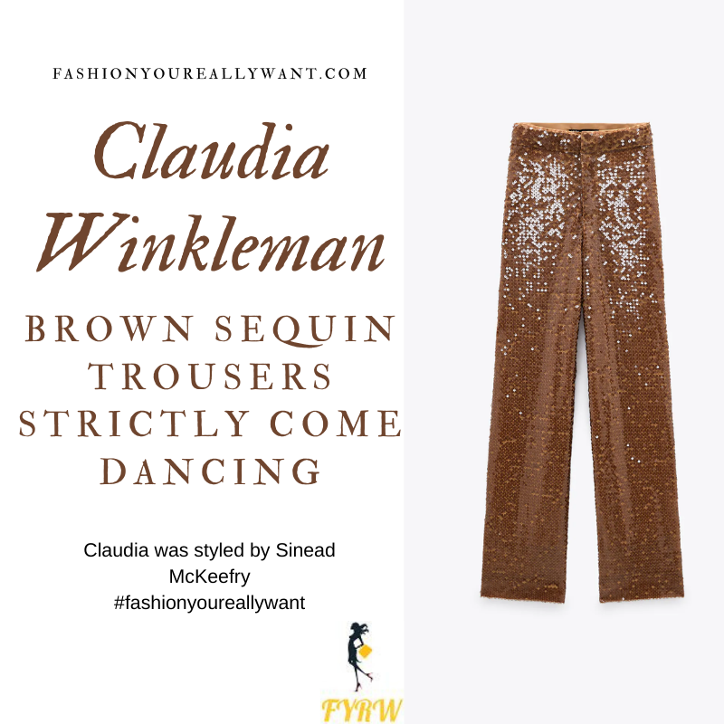 Claudia Winkleman Wore This on Strictly Come Dancing Week 2 Results November 2020 where to get her outfits gold brown sequin wide leg trousers