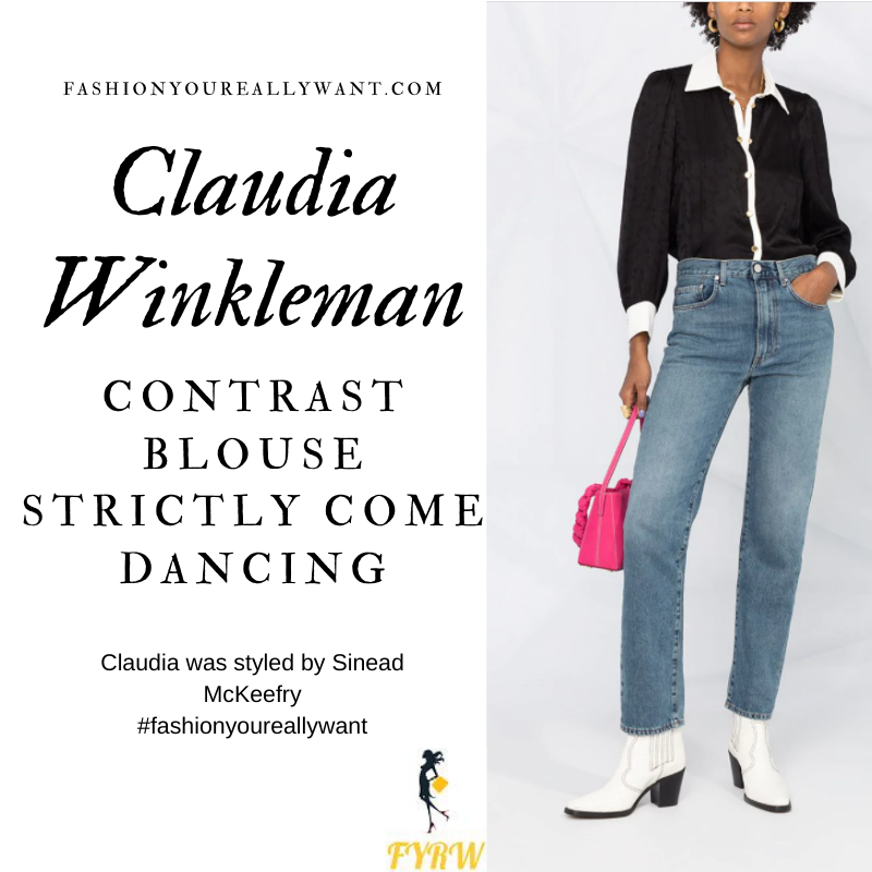Claudia Winkleman Wore This on Strictly Come Dancing Week 3 Results November 2020 where to get her outfits black blouse with white collar and cuffs black trousers
