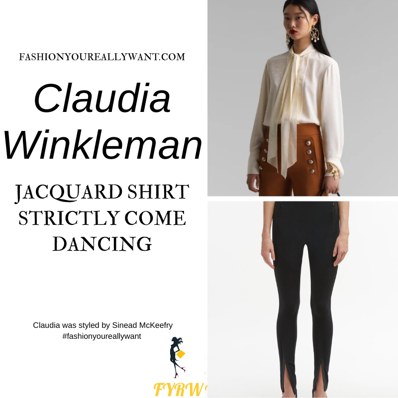 Claudia Winkleman Wore This on Strictly Come Dancing Week 6 November 2020 where to get her outfits cream tie neck blouse black split leggings