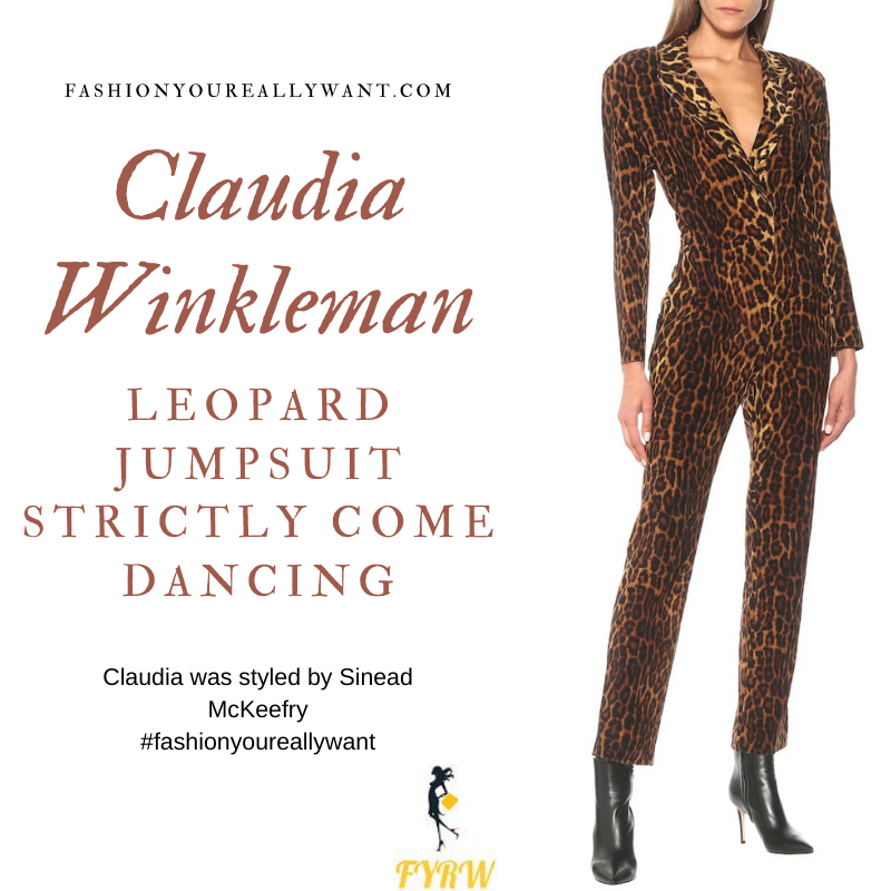 Claudia Winkleman Wore This on Strictly Come Dancing Week 5 November 2020 where to get her outfits leopard print jumpsuit
