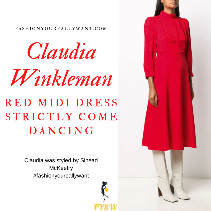 Claudia Winkleman Wore This on Strictly Come Dancing Week 4 Results November 2020 where to get her outfits red textured long sleeve midi dress
