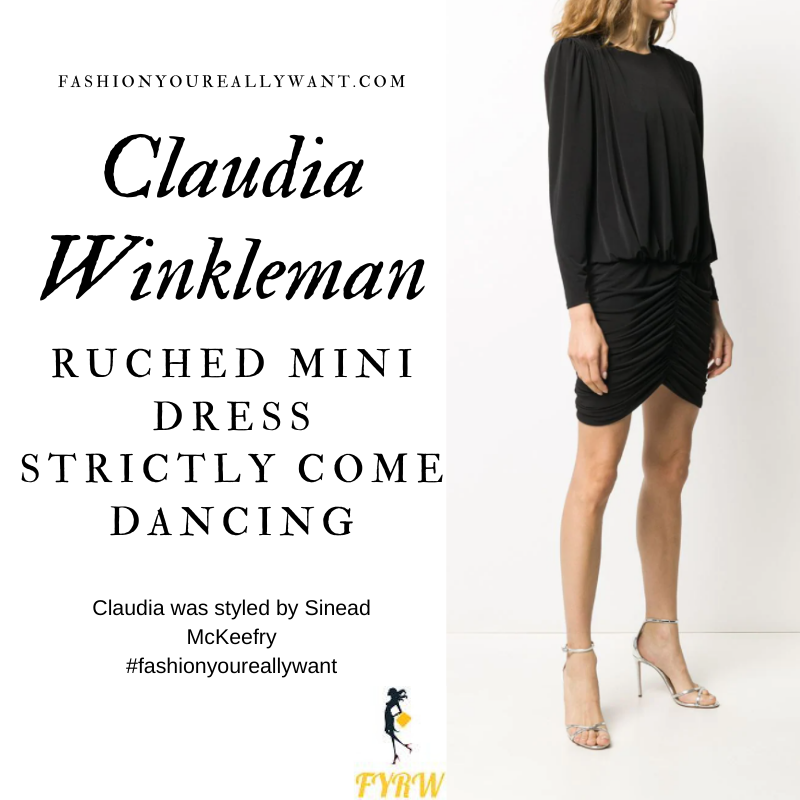 Claudia Winkleman Wore This on Strictly Come Dancing Week 5 Results November 2020 where to get her outfits black ruched mini dress white court shoes
