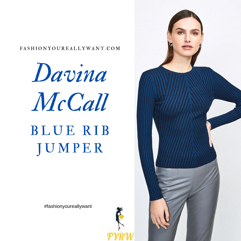 Where to get all Davina McCall This Morning outfits blog November 2020 bue contrast rib jumper black trousers
