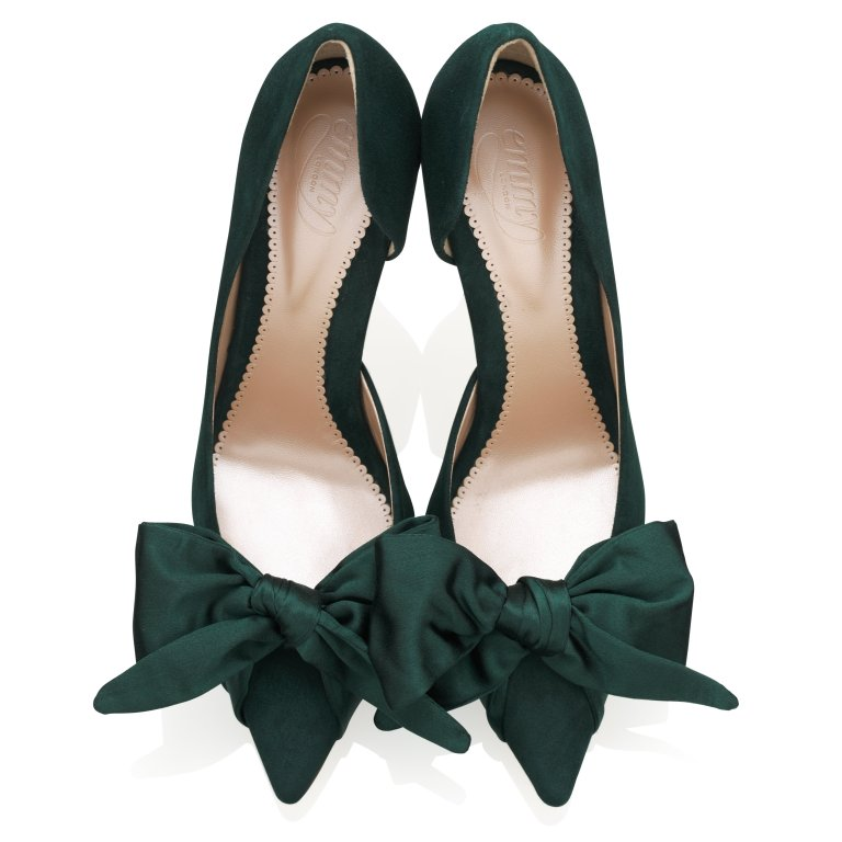 Emmy London Florence Greenry Mid Green Suede Court Shoe with Satin Bow