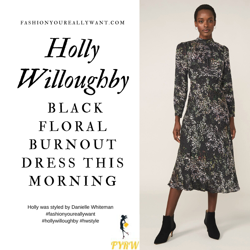 Where to get all Holly Willoughby This Morning outfits blog November 2020 black floral long sleeve midi dress black suede court shoes