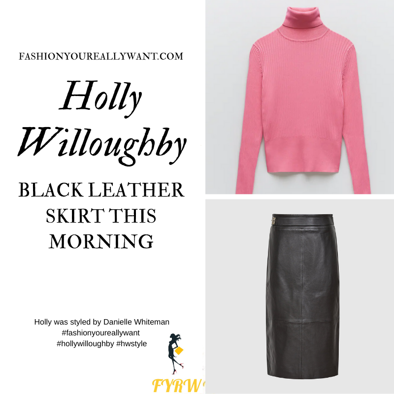 Where to get all Holly Willoughby This Morning outfits blog November 2020 pink ribbed polo neck black leather pencil skirt black suede court shoes