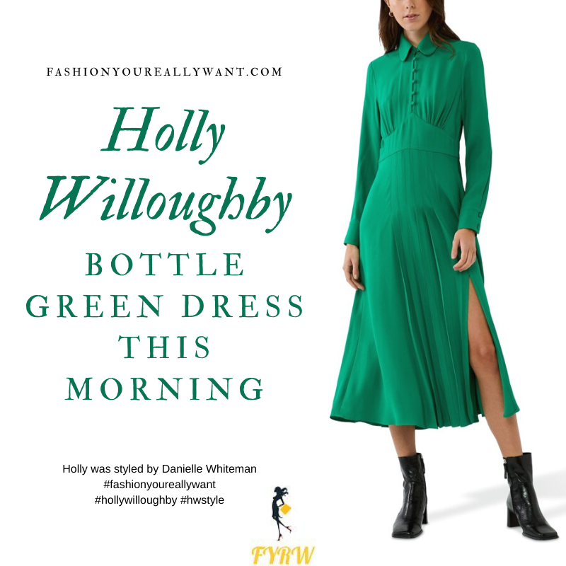 Where to get all Holly Willoughby This Morning outfits blog November 2020 green midi dress with long sleeves collar and buttons black suede court shoes