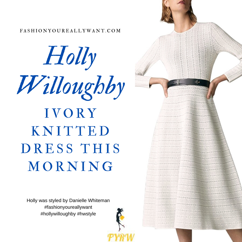 Where to get all Holly Willoughby This Morning outfits blog November 2020 ivory white knitted midi dress black suede court shoes