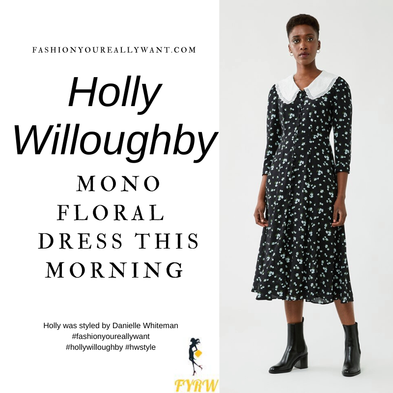 Where to get all Holly Willoughby This Morning outfits blog November 2020 black and white floral midi dress with white collar black shoes