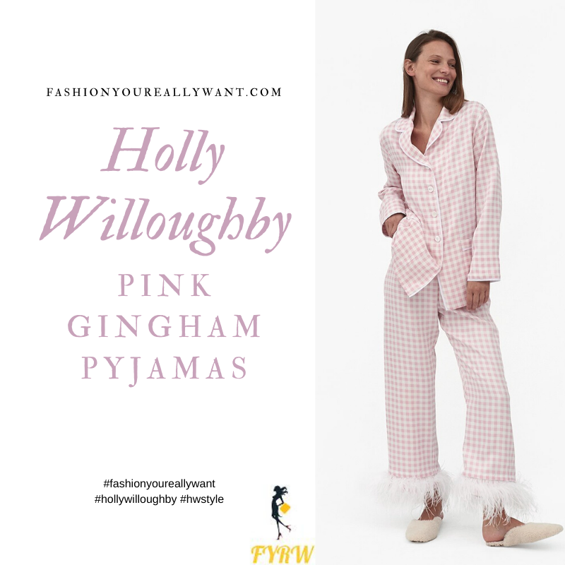 Where to get all Holly Willoughby outfits blog November 2020 pink gingham pyjamas with feather trim