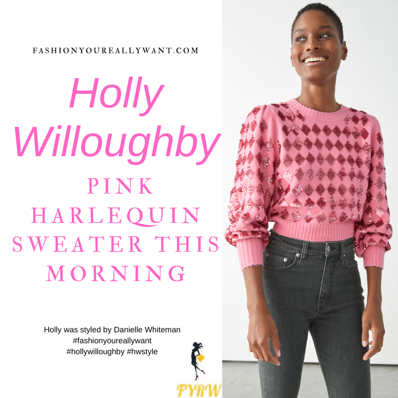 Where to get all Holly Willoughby This Morning outfits blog November 2020 pink sequin harlequin knit black mini skirt black suede court shoes