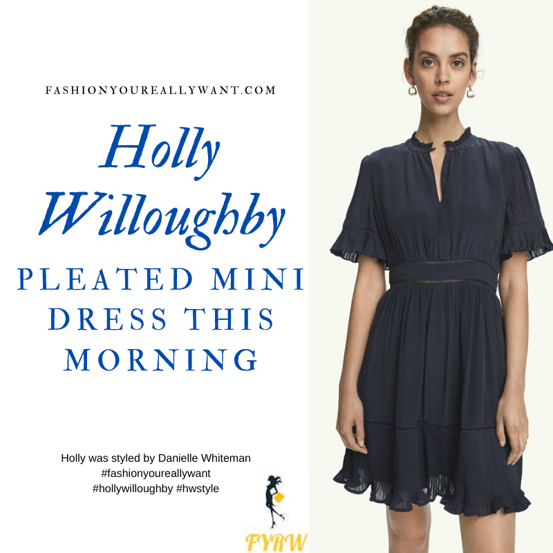 Where to get all Holly Willoughby This Morning outfits blog November 2020 navy blue short sleeve pleated mini dress navy suede court shoes