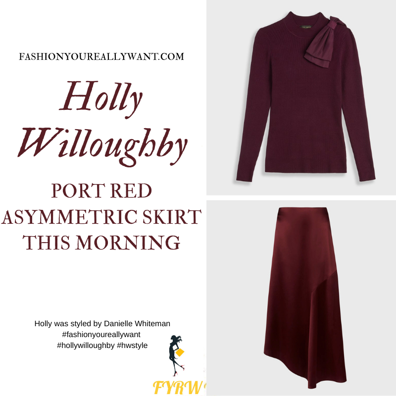 Where to get all Holly Willoughby This Morning outfits blog November 2020 port red knitwear asymmetric skirt suede court shoes