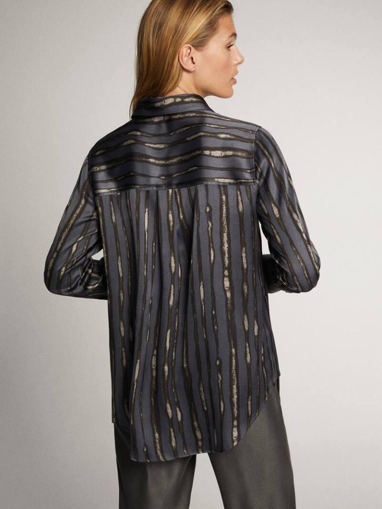 Massimo Dutti Stripe Graphic Print Shirt back view
