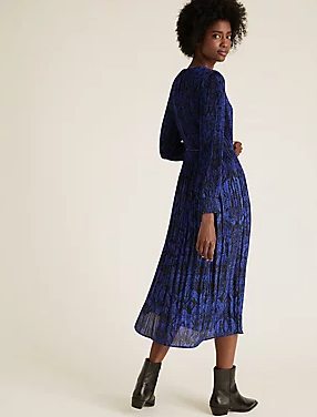 M&S Collection Animal Print Plisse Midaxi Waisted Dress back view